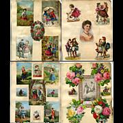 4 c. 1870s Victorian Scrapbook Pages, Die Cuts, Children, Paper Lace #304