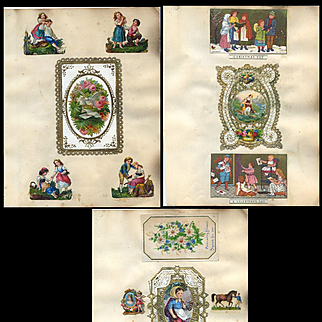 3 Pages from c. 1870's Victorian Scrapbook, Die Cuts, Kids, Flowers, Lacy Cards #307