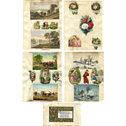 4 c. 1870s Victorian Scrapbook Pages, Die Cuts, Marcus Ward Christmas Card #309