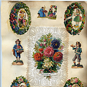 c.1870s Victorian Scrapbook Page, Lovely Die Cuts #310