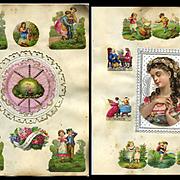 2 c. 1870s Victorian Scrapbook Pages, Paper Lace, Children Die Cuts #311