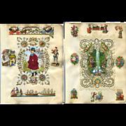 2 c. 1870s Victorian Scrapbook Pages, Paper Lace, Die Cuts #313