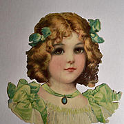 Large Die Cut of Girl in Green, Frances Brundage