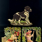 Victorian Die Cuts, Newfoundland Dog, Garden Girls