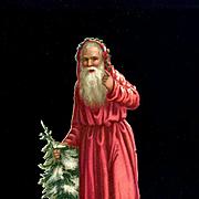 """St. Nick Santa Claus in Red Robe, Snowy Tree Victorian Die Cut 5.50"""""""