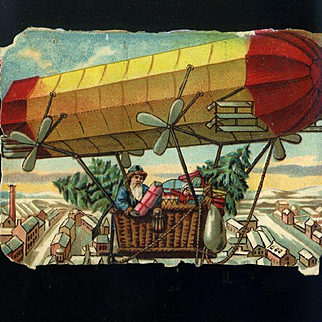 Santa in Red and Yellow Zeppelin Air Ship, Trees and Toys, Victorian Die Cut