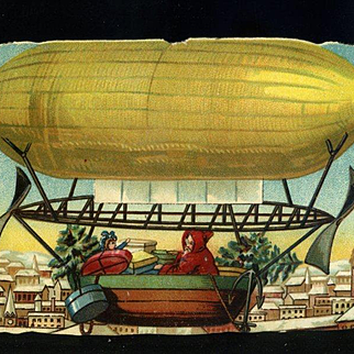 Red Suit Santa in Yellow Zeppelin Air Ship Delivers Packages, Tree, Doll, Victorian Die Cut