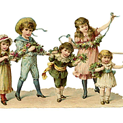Kate Greenaway Style Children Playing with Ribbons & Flowers, Victorian Die Cut, Very Nice
