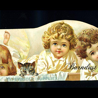 Kids and Kitty Peeking at Us, c1890s Art Trimmed from Typewriter Advertising Card