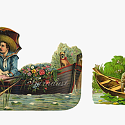 Two Victorian Die Cuts, Courting Man and Woman in Row Boat, Lily Pads, Flowers, Dog, Large and Small Pieces