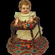 "Large 11"" Toddler in Fancy White Dress Play in Wooden Walker Victorian Die Cut"