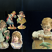 Victorian Die Cuts, Child with Parrot, Girls