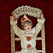 1898 Calendar Section, Child Clown on Ladder, Nister Quality Die Cut