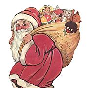 c.1915 Large Santa Claus, Toys, Golliwog, Magazine Cutout