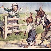 c. 1915 Brer Rabbit, Fox Color Illustration, Velvet Tobacco Advertising