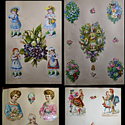 26 Victorian Scrapbook Pages c. 1876,  All Die Cuts, Children, Flowers, Patriotic, Ladies, Angels, etc.