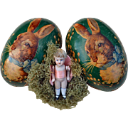 """3"""" All Bisque Doll Hidden in Old Paper Mache Easter Egg, Rabbit on Green w Pussy Willow"""