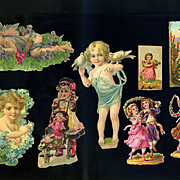 Victorian Die Cuts, Cherubs, Girl with Doll, Dancers