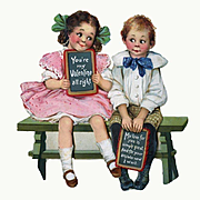 c.1915 Valentine, Large Die Cut Girl & Boy on Bench, Frances Brundage