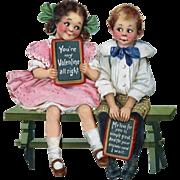 c.1915 Valentine, Large Die Cut Girl & Boy on Bench, Frances Brundage - Red Tag Sale Item