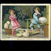3 c. 1880 Cards, Greenaway Style Children, Easter Egg, Play Badmitten, Trundling Hoop Troubles