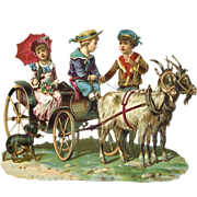 Large Victorian Die Cut  Scene, Boys & Girl Traveling in Goat Wagon