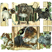 1905 Raphael Tuck Dogs, Partial Calendar, Bulldog, Terrier, King Charles, Collie, Holly Berry