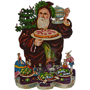 1870's Embossed Santa / Father Christmas Die Cut, Brings Food, Punch, Toys, Early Uncommon Image