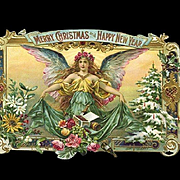 c.1890s Rare Tobacco Cigar Christmas Label, Beautiful Angel, Decorated Tree, Trimmed
