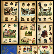 Victorian Scrapbook Full of Mostly Die Cuts of Cats, Dogs, Children, Pigs, Circus, Flowers, etc. Anthropomorphic(B)