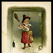 c. 1890 Girl in Witch Hat, Broom, Cat and Spider, Chromolitho Print
