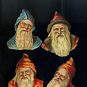 4 Santa Heads Victorian Die Cuts