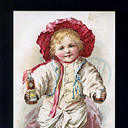 1897 Hires Root Beer Victorian Trade Card, Toddler in Red Bonnet
