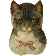 """Cat Wearing Pink Bow, Large 8.50"""" Victorian Die Cut"""