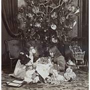 1896 Christmas Dolls & Little Girl Mama's Have Tea, Decorated Tree, Original Stereoview Photo