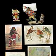 Anthropomorphic Mice, Frog, Donkey, Birds, Bee, Cat Victorian Scrap