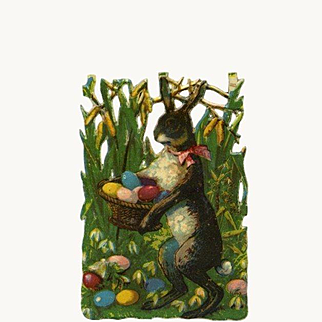 Rabbit with Colored Eggs in Grass Small Victorian Die Cut