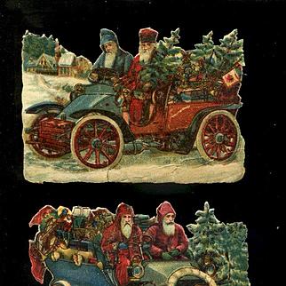 2 Santas Driving Model T Type Car x 2 Victorian Die Cuts (A)