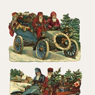 2 Santas Driving Model T Type Car x 2 Victorian Die Cuts (B)