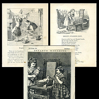 c.1870's Engravings, Little Girls with Dolls 3 Illustrations