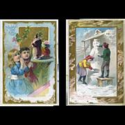 c.1891 Santa, Snowman, Children,  Two Large McLaughlin Coffee Victorian Trade Cards