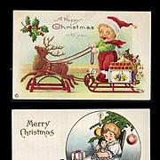 c. 1910s Christmas Post Cards, Girl & Dolls, Reindeer Pulls Boy in Sled