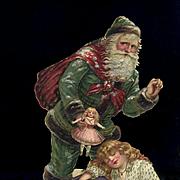 c. 1890s Die Cut Santa Claus Bringing Sleeping Girl a Christmas Doll