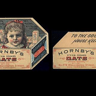 Hornby's Oats, Metamorphic Die Cut, Little Girl inside Box Victorian Trade Card