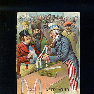 """1901 Patriotic Uncle Sam Says """"Keep Your Pants on with the Atwood Suspender"""", Victorian Trade Card"""