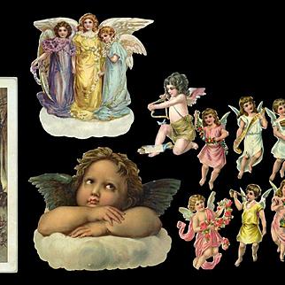 Group of Victorian Die Cut Angels, Cherubs, Fairy Soap Advertising Card (A)