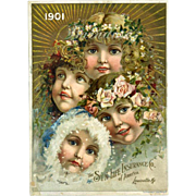 1901 Pretty Girls as Four Seasons, The Sun Insurance Co. Louisville, KY Calendar 5 x 7