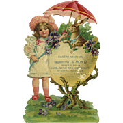 Rabbit in Egg with Violets, Brundage Girl Large Victorian Easter Die Cut, W.S. Montz, Dealer in Coal Products, Louisville, KY