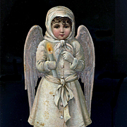 Large Christmas Snow Angel with Candle, Mica, Victorian Die Cut