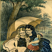 "1860's Currier & Ives ""The Little Tea Party"" Little Girls with Early Doll, Original Hand Colored Print"
